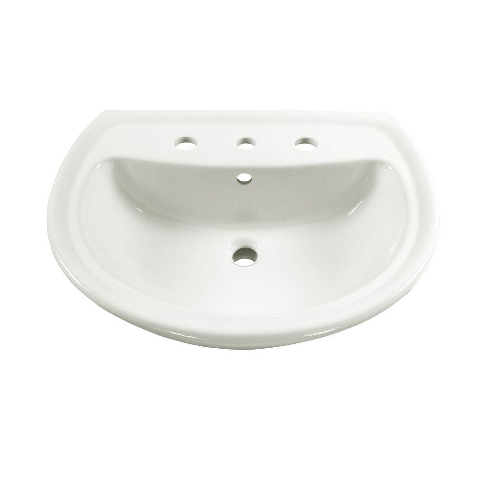 Cuvette de lavabo sur piédestal Cadet<sup>®</sup> avec trous de robinet de 8 po, blanche