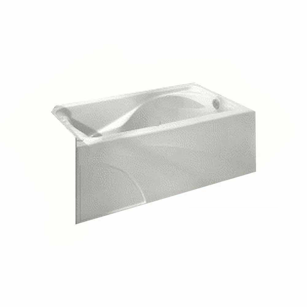 Cadet 5 Feet Bathtub with Left-Hand Drain and Integral Apron in White