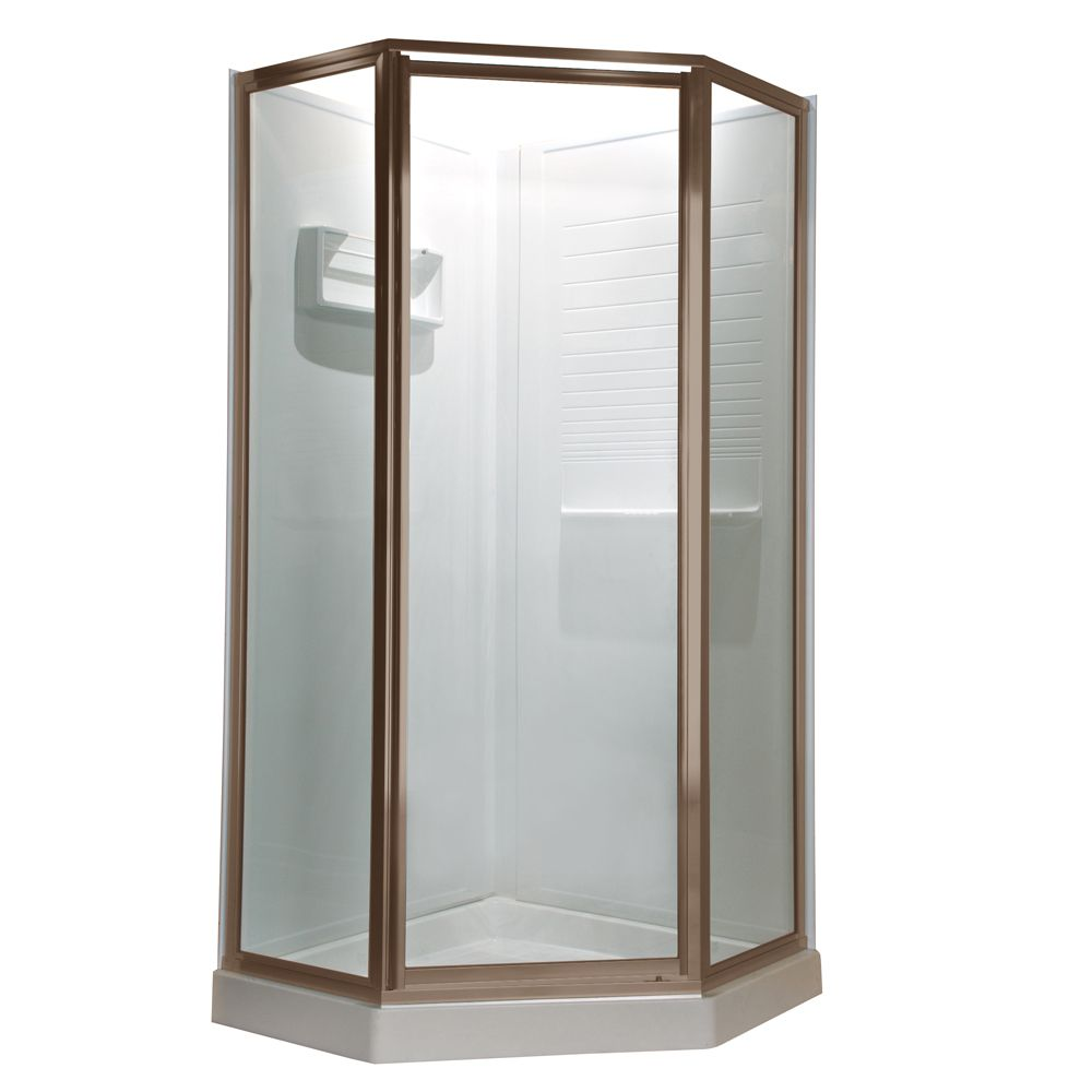 Prestige 18.4375 Inch x 24.25 Inch x 18.4375 Inch x 68.5 H Neo-Angle Shower Door in Brushed-Nicke...