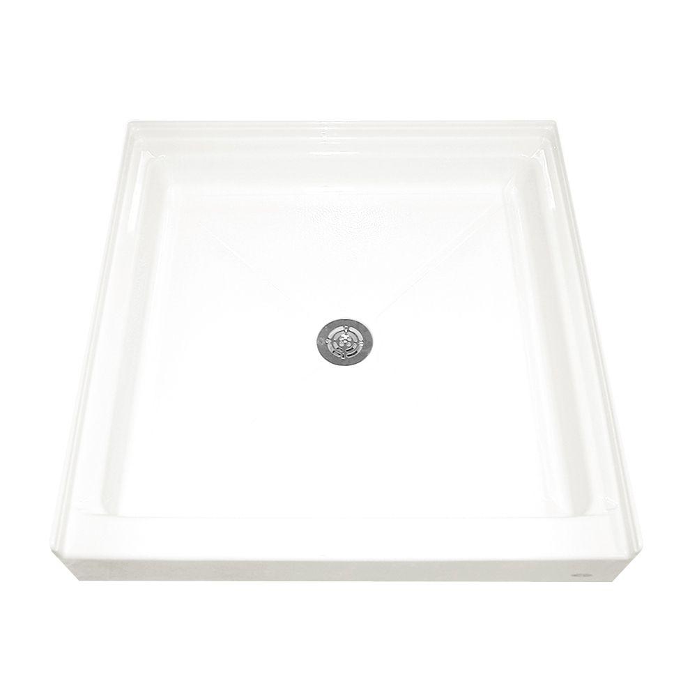 Base de douche à seuil unique, rétention d'eau intégrale et bride de carrelage, douche, blanche