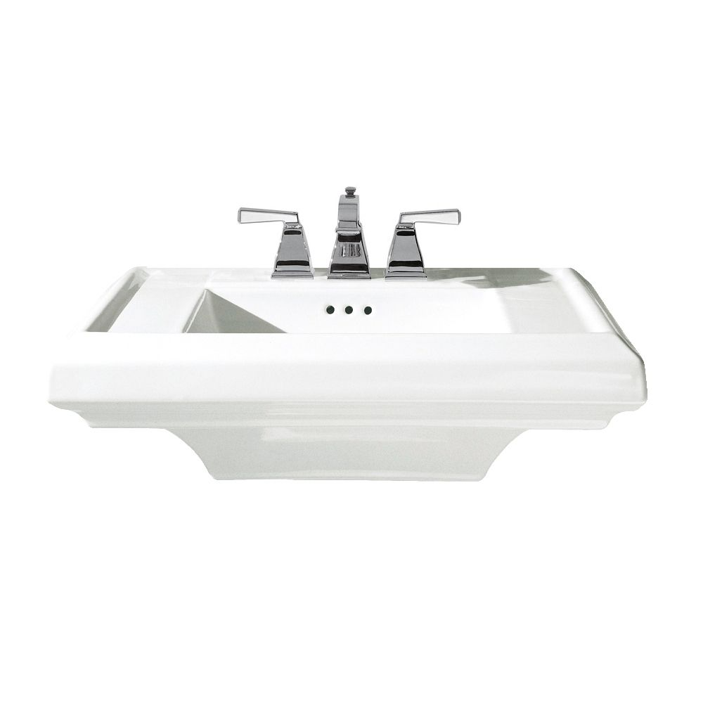 Town Square 24-inch Bathroom Pedestal Sink Basin with 4-inch Faucet Spacing in White