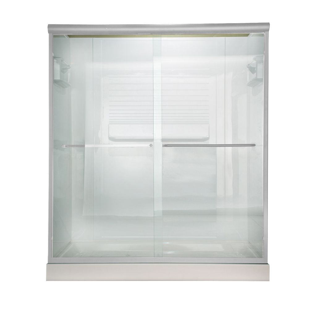 Euro 60 Inch W x 65.5 Inch H Frameless Bypass Shower Door in Silver Finish with Clear Glass