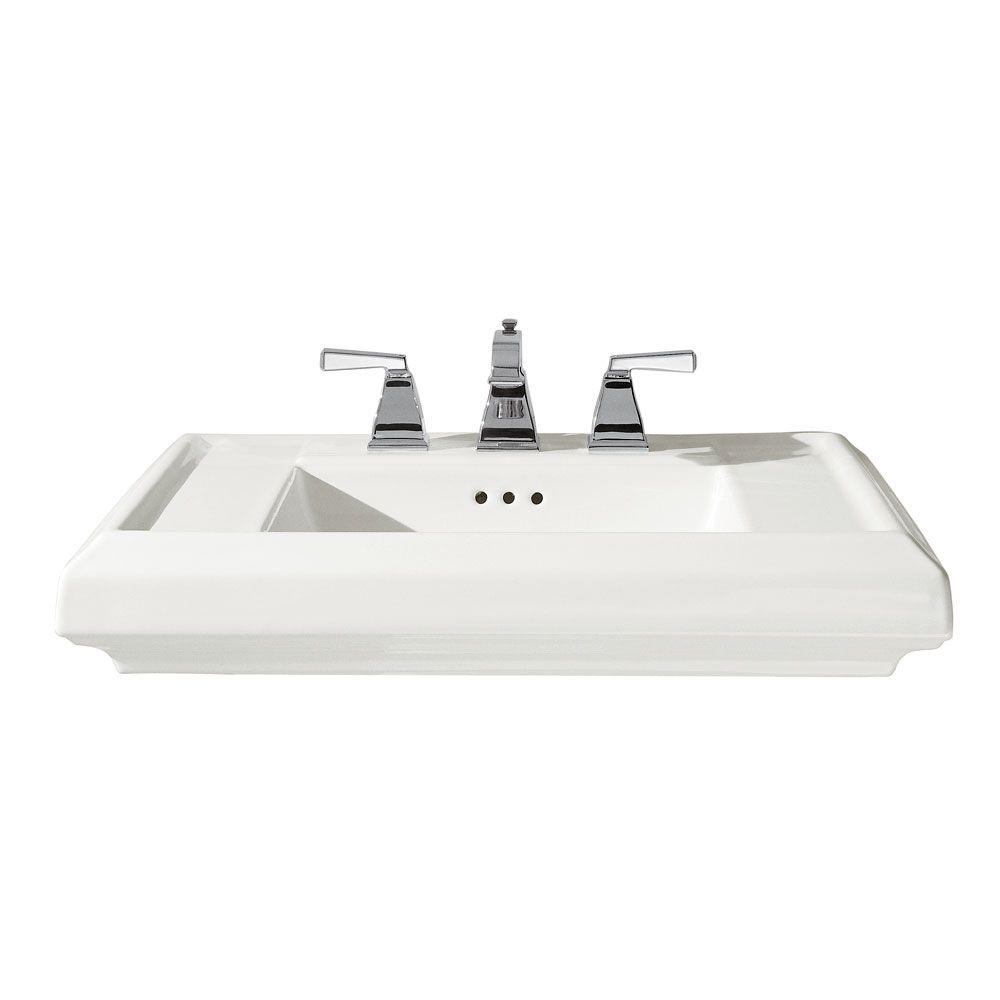 Town Square 6 1/2-inch Bathroom Pedestal Sink Basin in White