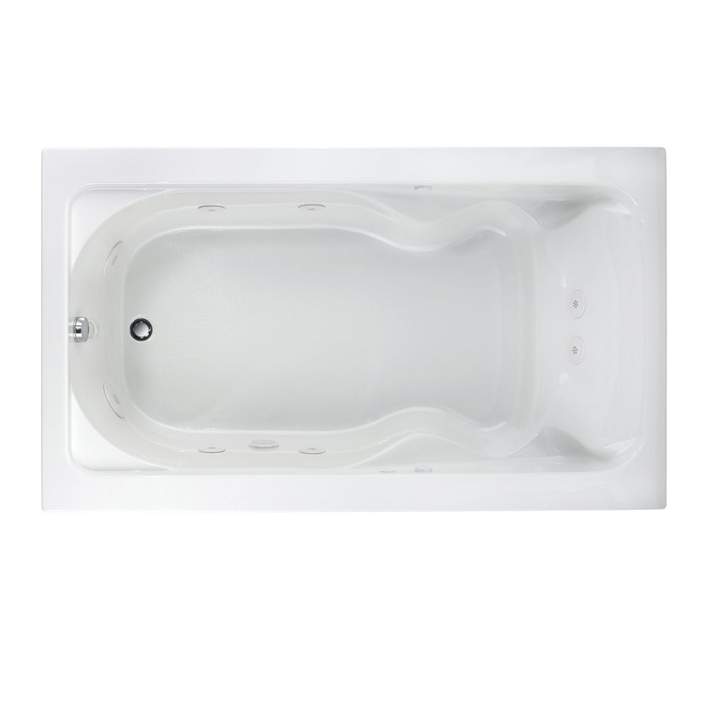 Cadet 6 Feet System I Whirlpool Bathtub with Reversible Drain in White