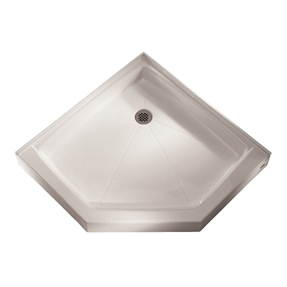 Base de douche à néo-angle, rétention d'eau intégrale et bride de carrelage, renvoi de douche, bl...