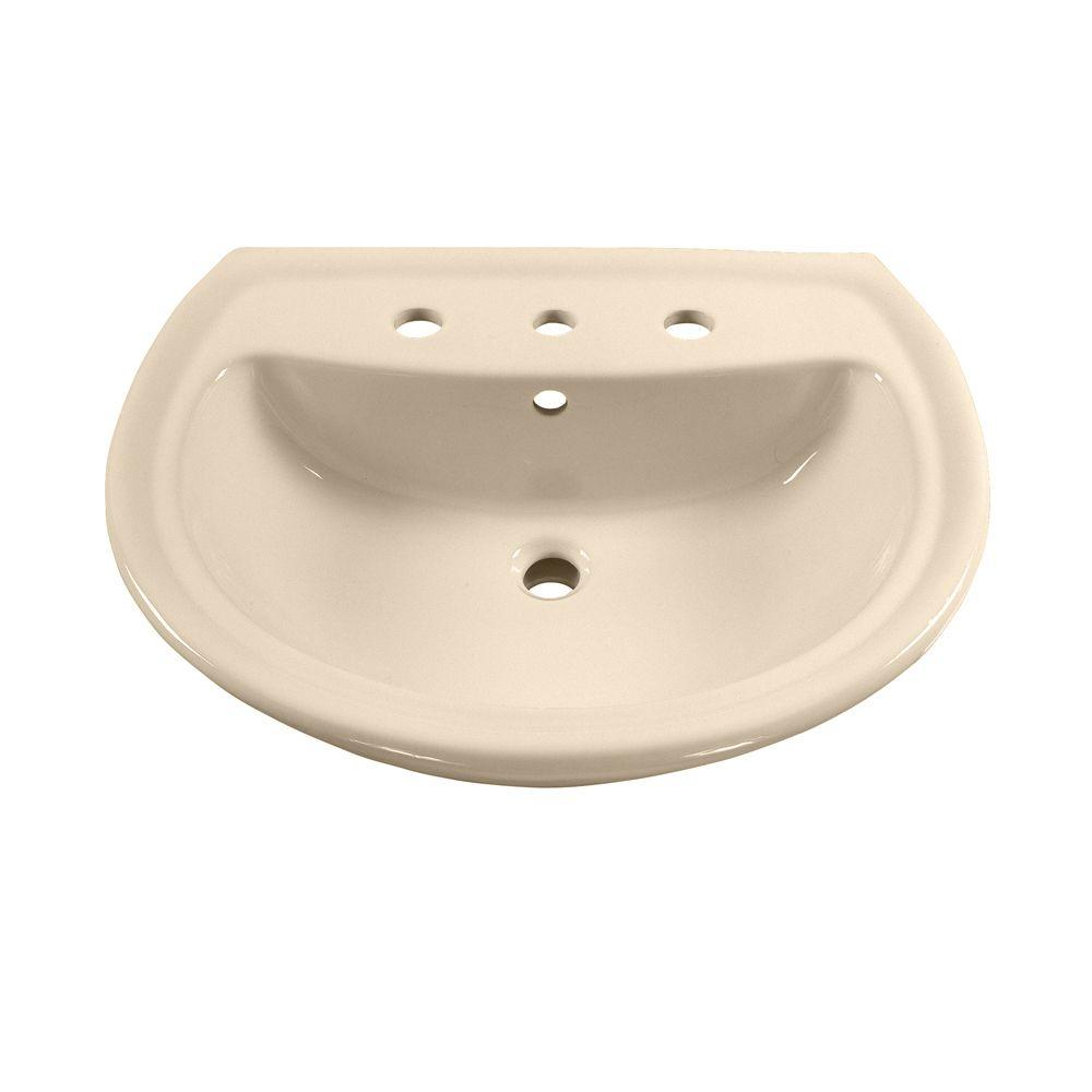 Cuvette de lavabo sur piédestal Cadet<sup>®</sup> avec trous de robinet de 8 po de couleur os
