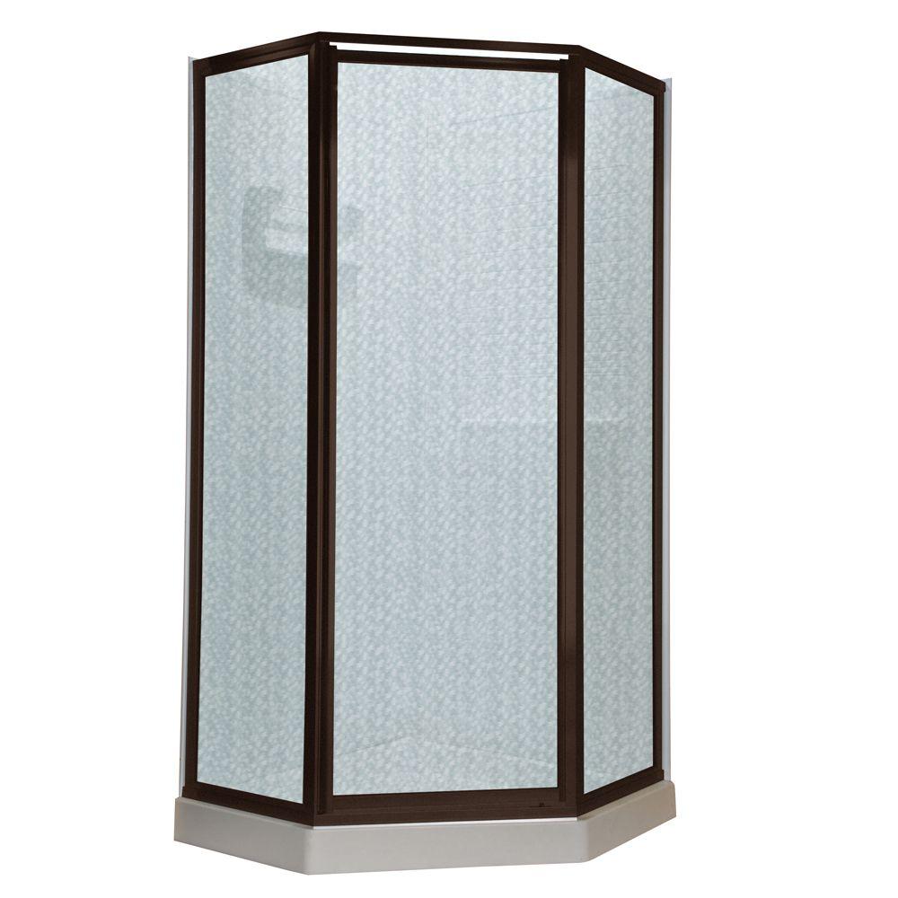 Portes à néo-angle, 18 1/2 po x 24 po x 18 1/2 po x 72 po en verre transparent