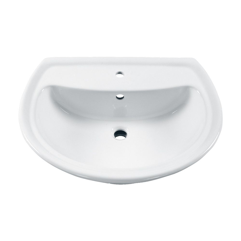 American Standard Cadet 6-inch Bathroom Pedestal Sink Basin with Centre Hole in White