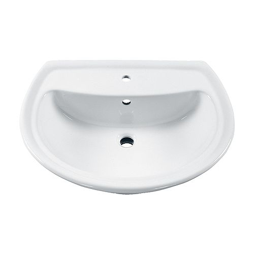 American Standard Cadet Semi-Circle 6-inch Bathroom Pedestal Sink Basin with Centre Hole in White