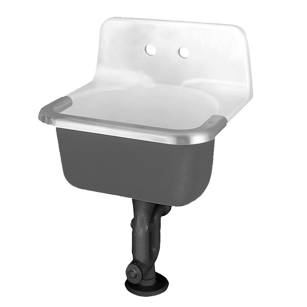 Akron Service Sink with Drilled Back on 8-inch Centres and Rim Guard in Glossy Porcelain