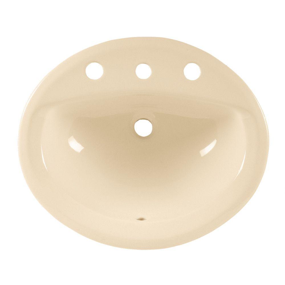 Lavabo sur comptoir avec rebord intégré Aqualyn� et centres de 8 po, rebords coniques élégants, d...