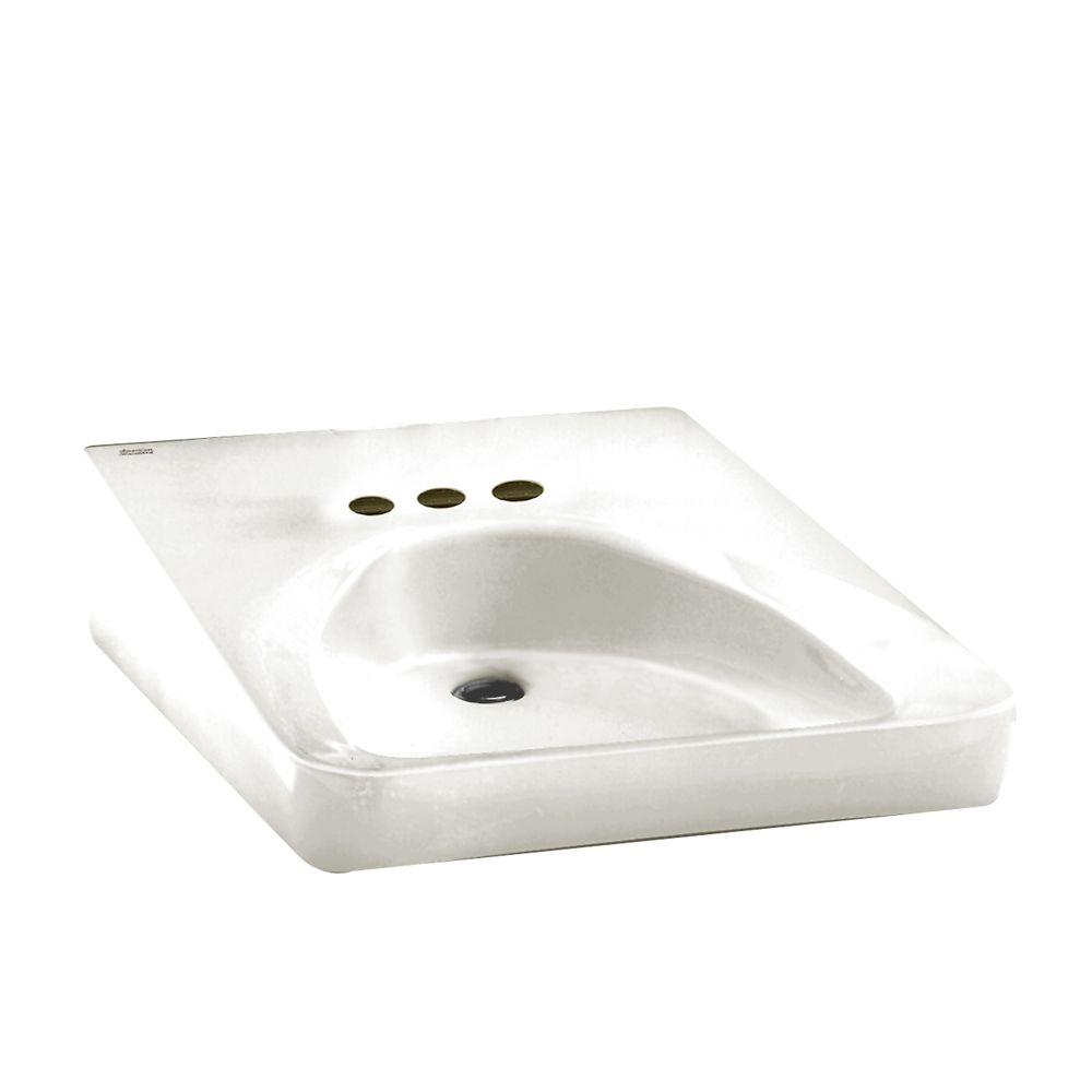 Lavabo monobloc de 4 po pour usager en fauteuil roulant, blanc