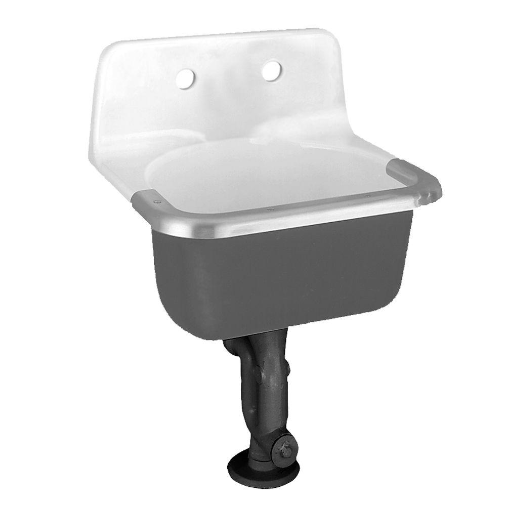 Lavabo de service Lakewell� avec trous prépercés à l'arrière et protège-jante, blanc