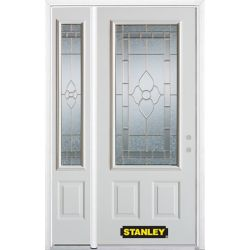 Stanley Doors 50.25 inch x 82.375 inch Marguerite Brass 3/4 Lite 2-Panel Prefinished White Left-Hand Inswing Steel Prehung Front Door with Sidelite and Brickmould - ENERGY STAR®