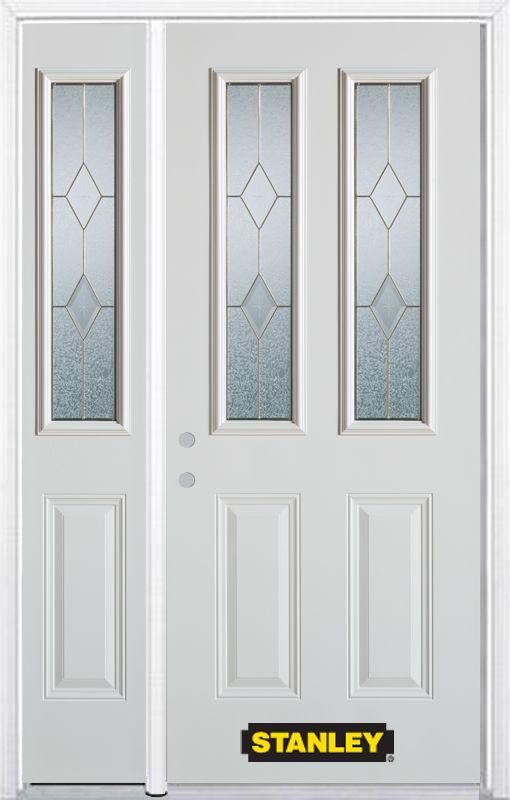 48-inch x 82-inch Tulip 2-Lite 2-Panel White Steel Entry Door with Sidelite and Brickmould
