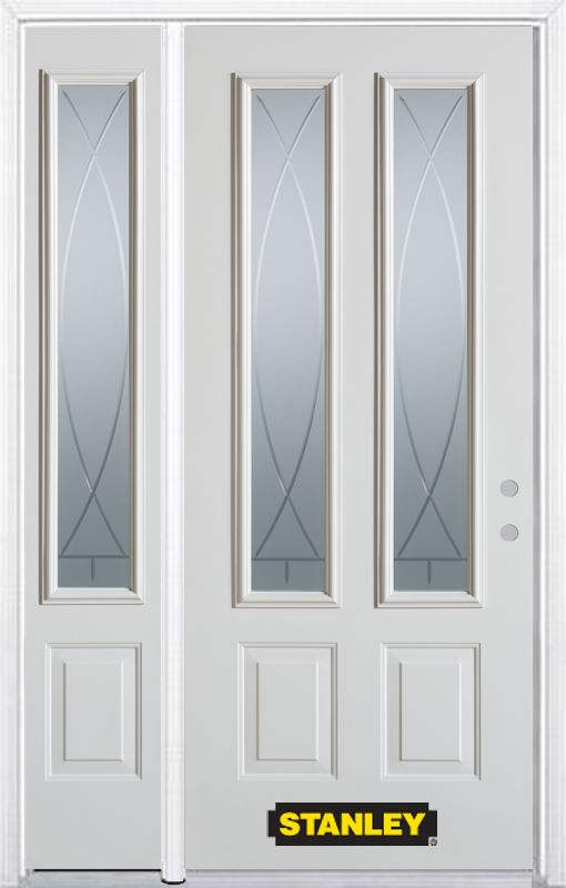 50-inch x 82-inch Bourgogne 2-Lite 2-Panel White Steel Entry Door with Sidelite and Brickmould