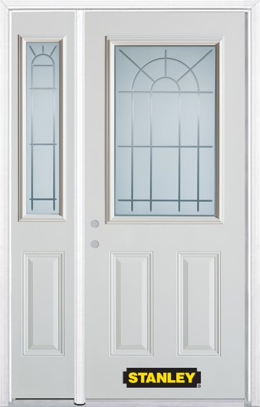 52-inch x 82-inch Chablis 1/2-Lite 2-Panel White Steel Entry Door with Sidelite and Brickmould