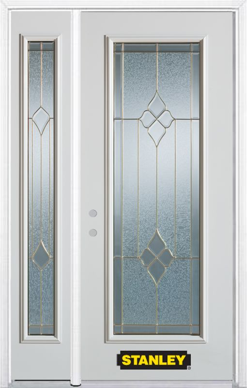 Stanley Doors 48.25 inch x 82.375 inch Beatrice Brass Full Lite Prefinished White Right-Hand Inswing Steel Prehung Front Door with Sidelite and Brickmould