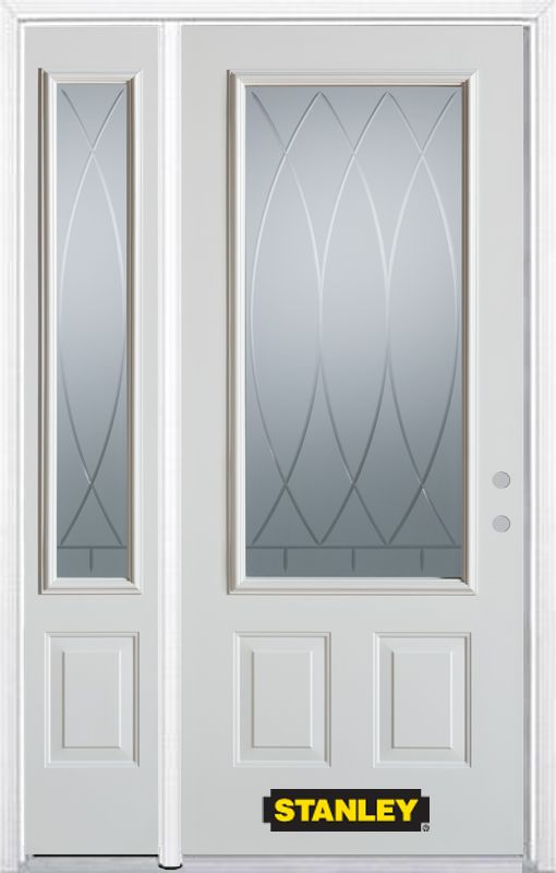 48-inch x 82-inch Bourgogne 3/4-Lite 2-Panel White Steel Entry Door with Sidelite and Brickmould