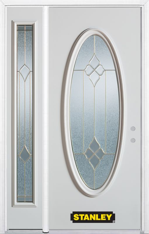 Stanley Doors 50.25 inch x 82.375 inch Beatrice Brass Full Oval Lite Prefinished White Left-Hand Inswing Steel Prehung Front Door with Sidelite and Brickmould