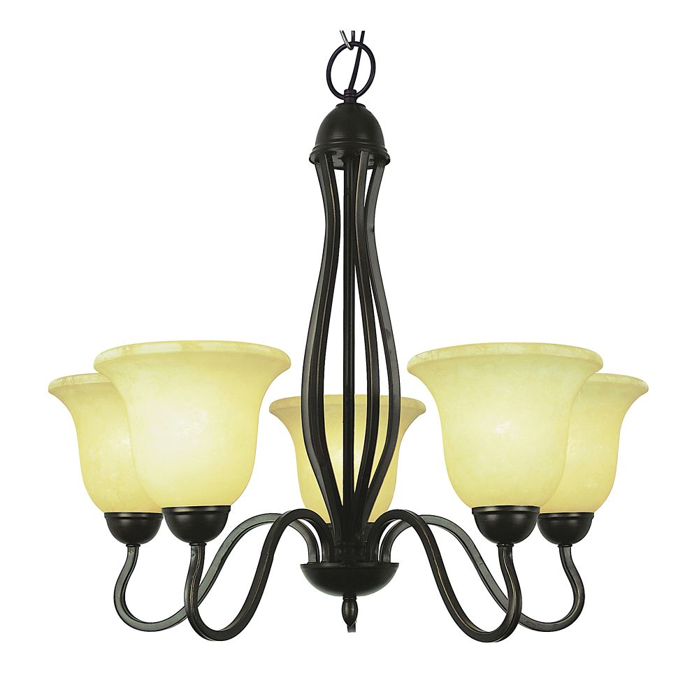 Bel Air Lighting Bronze Hooked 5 Light Chandelier