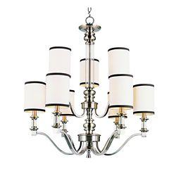 Bel Air Lighting Lustre à 2 rangs cristal et toile de lin, nickel
