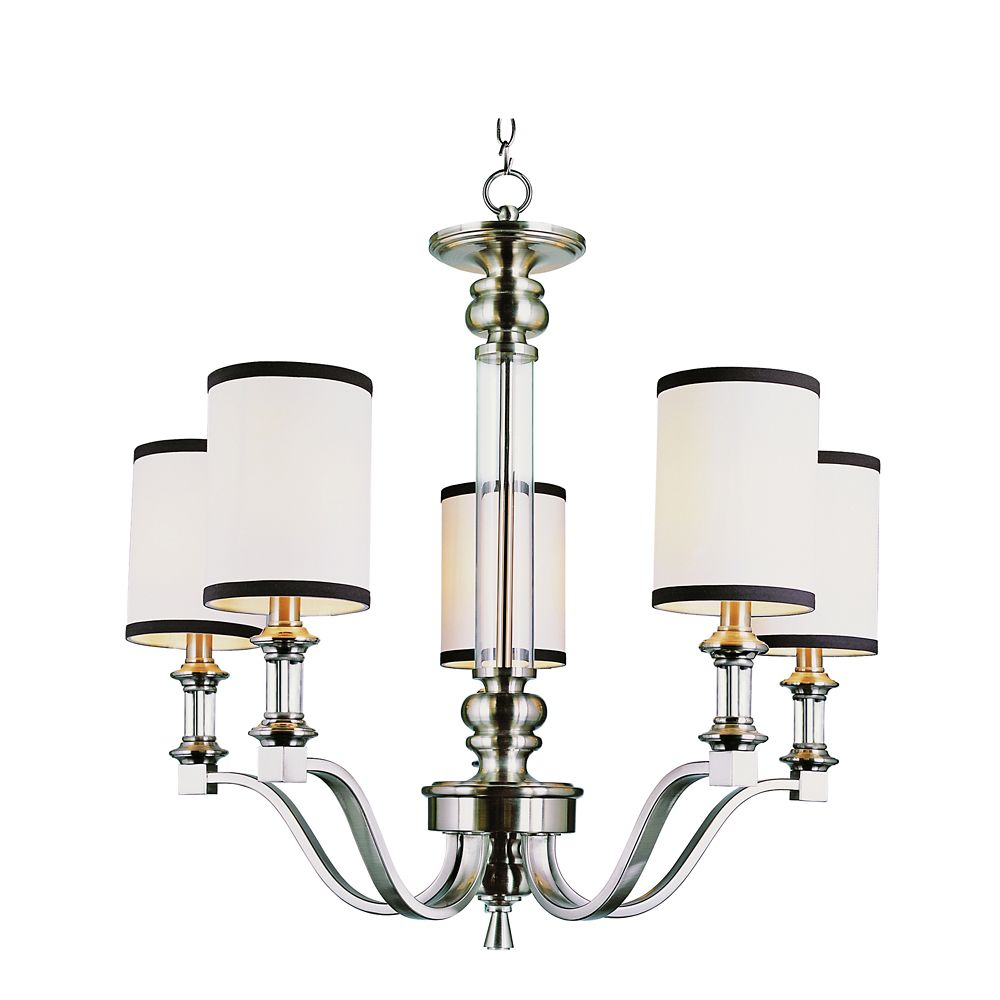 Bel Air Lighting Nickel Crystal and Linen 5 Light Chandelier