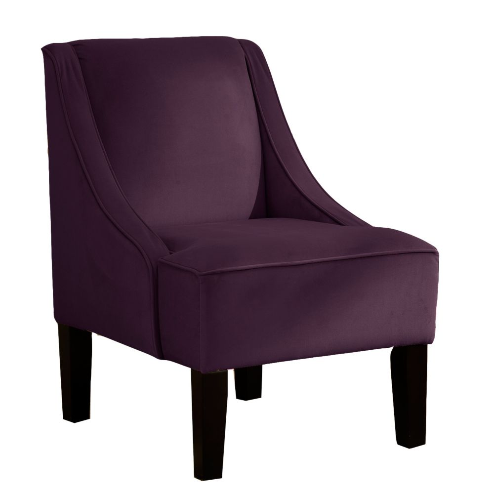 Swoop Arm Chair in Velvet Aubergine