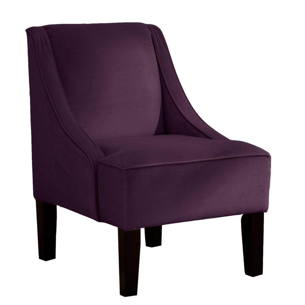 Swoop Arm Chair in Velvet Aubergine