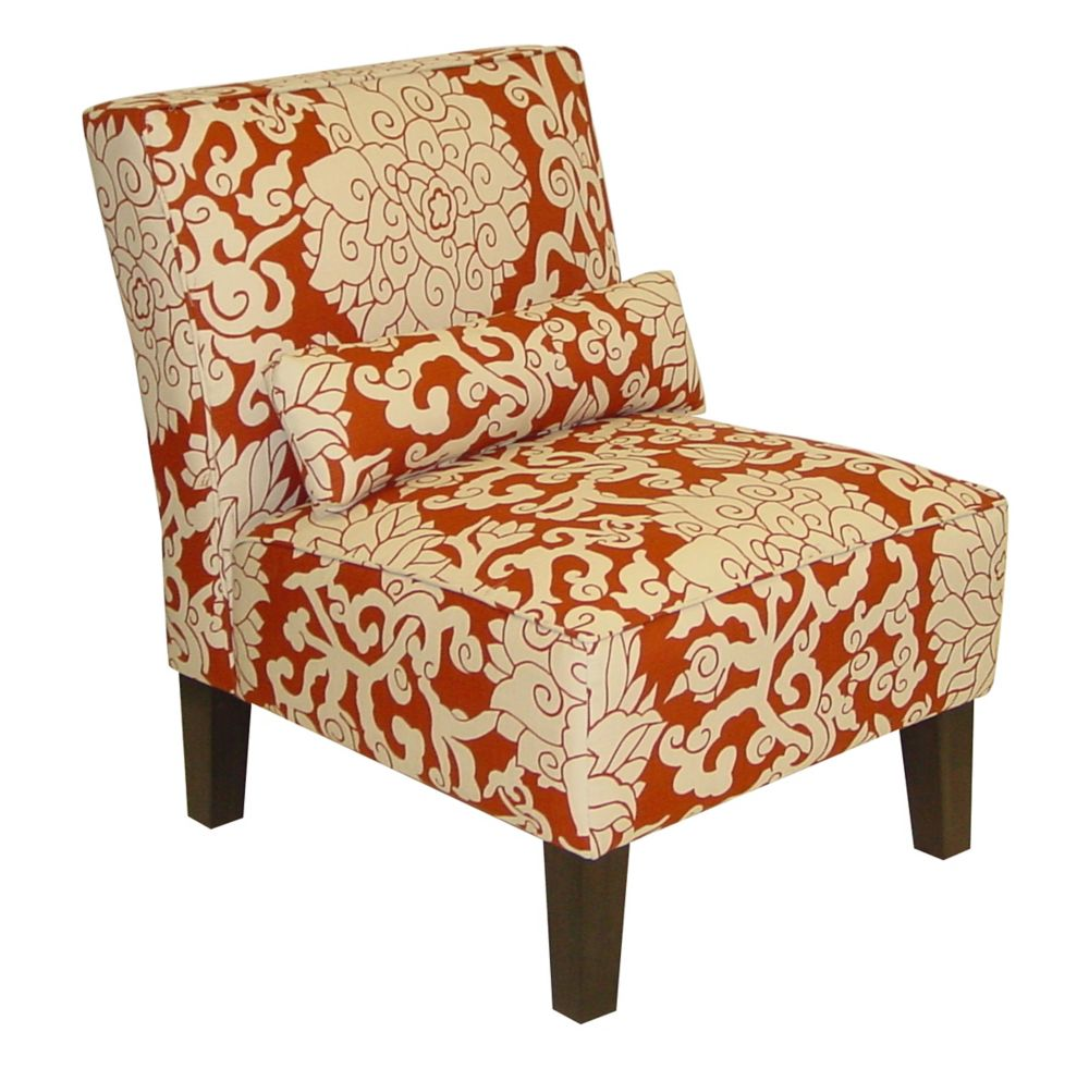 Armless Accent Chair in Athens Cinnebar