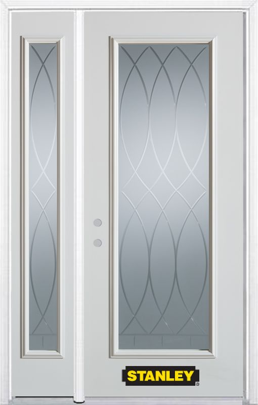 48-inch x 82-inch Bourgogne Full Lite White Steel Entry Door with Sidelite and Brickmould