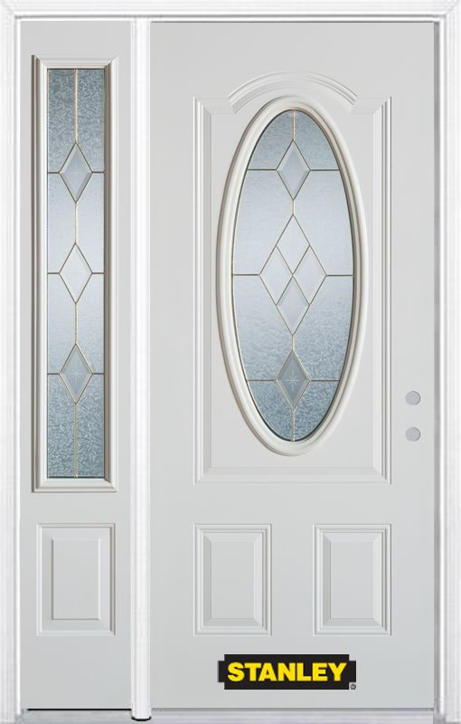Stanley Doors 50.25 inch x 82.375 inch Tulip Brass 3/4 Oval Lite 2-Panel Prefinished White Left-Hand Inswing Steel Prehung Front Door with Sidelite and Brickmould