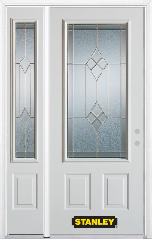 Stanley Doors 48.25 inch x 82.375 inch Beatrice Brass 3/4 Lite 2-Panel Prefinished White Left-Hand Inswing Steel Prehung Front Door with Sidelite and Brickmould