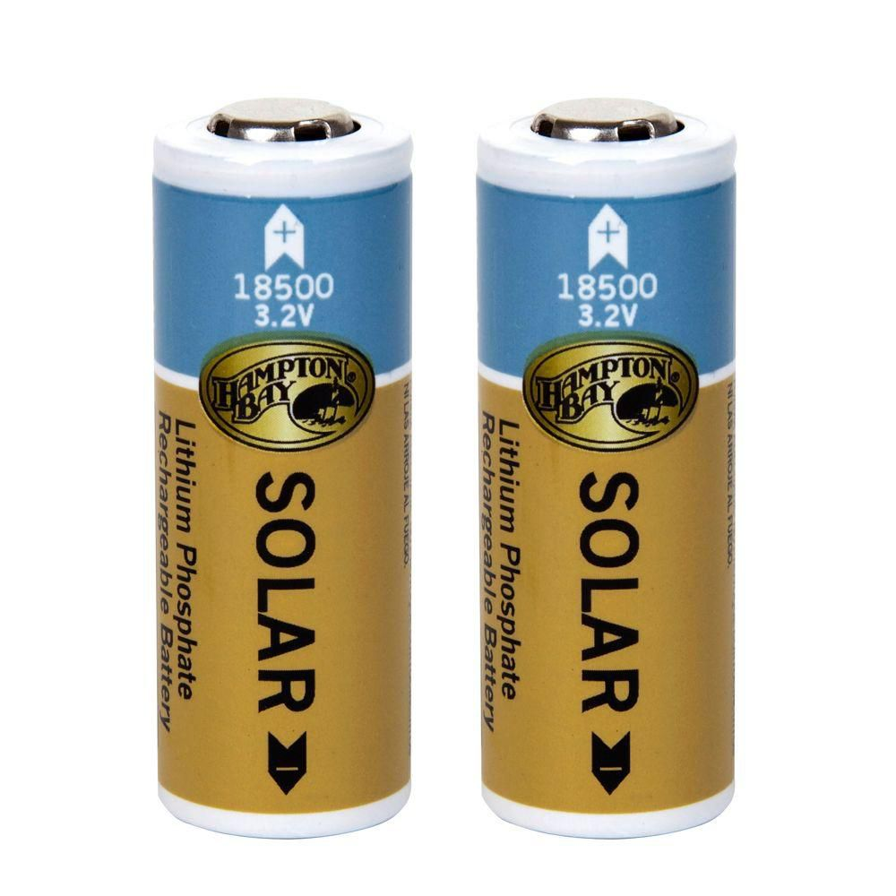 Hampton Bay 2PK 1000mAh Lithium Phosphate Solar Rechargeable Batteries