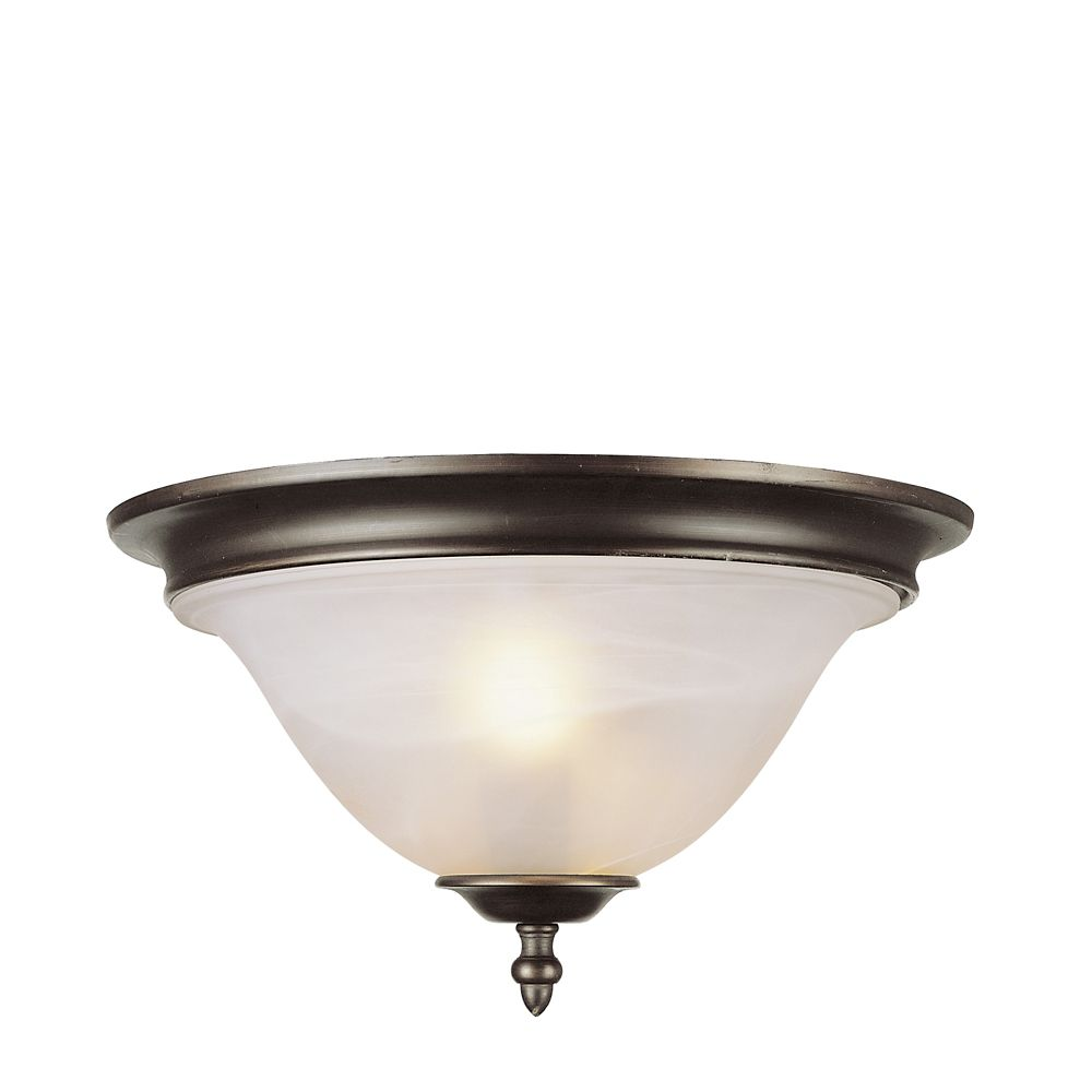 Bel Air Lighting Bronze with Marbled Glass Flushmount