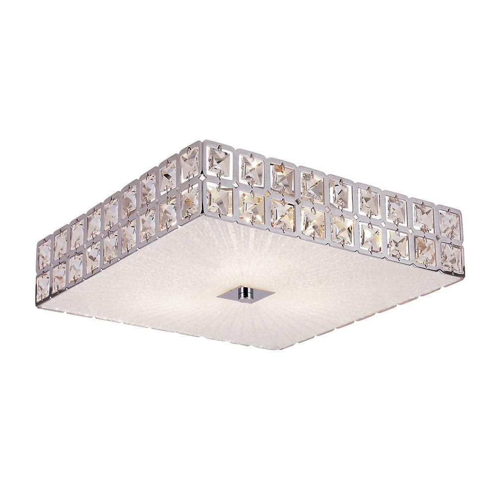 Luminaire affleurant, cristal graniglia et carré chrome, 27,94 cm (11 po)