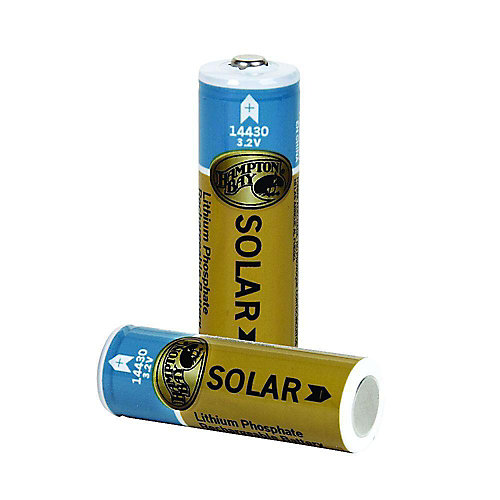 400mAh Lithium Phosphate Solar Rechargeable Batteries (2-Pack)