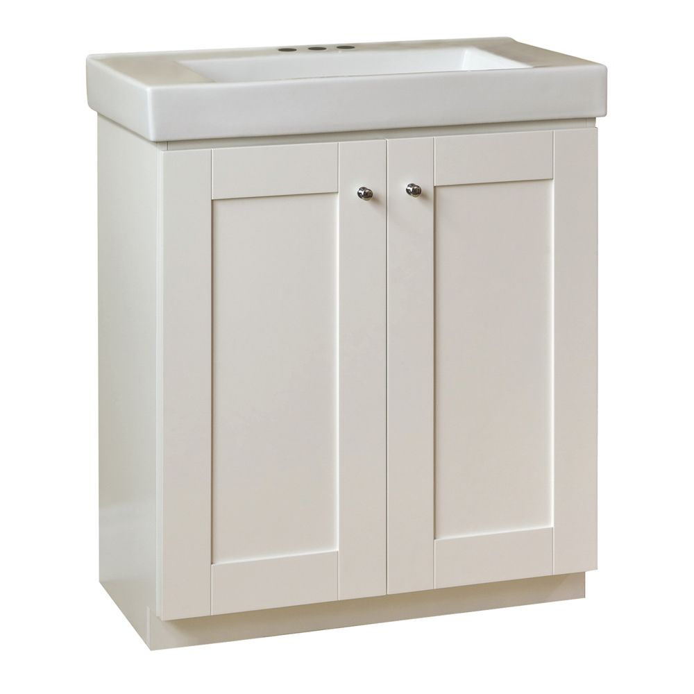 Adrian 30-inch W Shaker Vanity Base in Matte White Finish with Porcelain Top