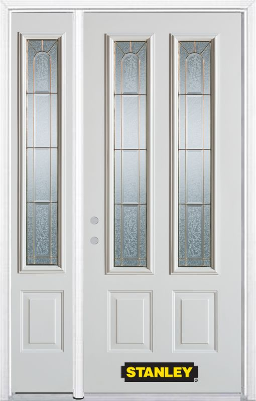 Stanley Doors 48.25 inch x 82.375 inch Elisabeth Brass 2-Lite 2-Panel Prefinished White Right-Hand Inswing Steel Prehung Front Door with Sidelite and Brickmould
