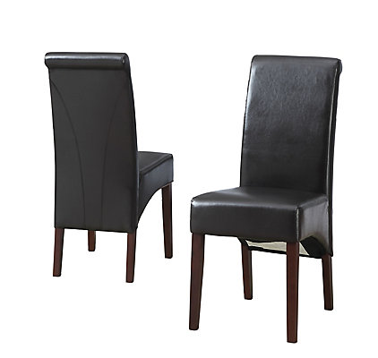 Solid Wood Brown Parson Armless Dining Chair With Black Faux Leather Seat Set Of 2