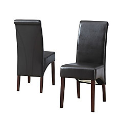 Avalon Solid Wood Brown Parson Armless Dining Chair With Black Faux Leather Seat Set Of