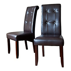 Cosmopolitan Solid Wood Brown Parson Armless Dining Chair with Brown Faux Leather Seat (Set of 2)