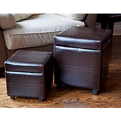 Simpli Home 15.74-inch x 15.74-inch x 18.9-inch Faux Leather Ottoman in Brown