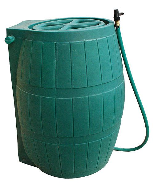 Rain Barrel With Flat Back  285 Litre Capacity - Green