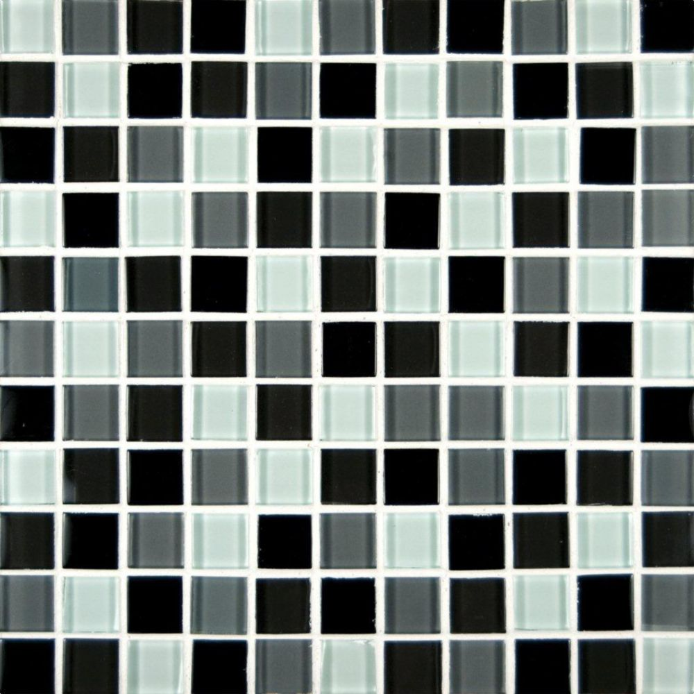 Msi stone ulc black blend 1 in x 1 in glass mesh mounted mosaic wall tile the home depot canada - Home depot black granite tile ...