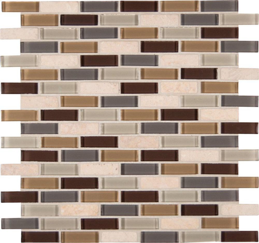 Msi stone ulc luxor valley brick patter glass stone mesh for Installing glass tile with mesh back