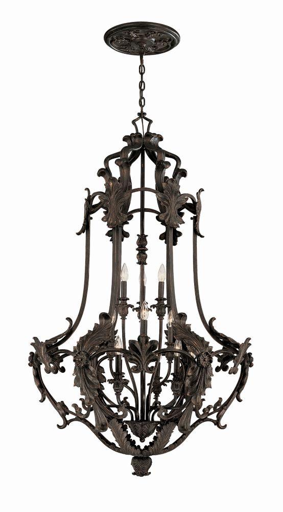Lanterne dentrée sans vitrage à douze lampes au fini bronze de la Collection Salerno