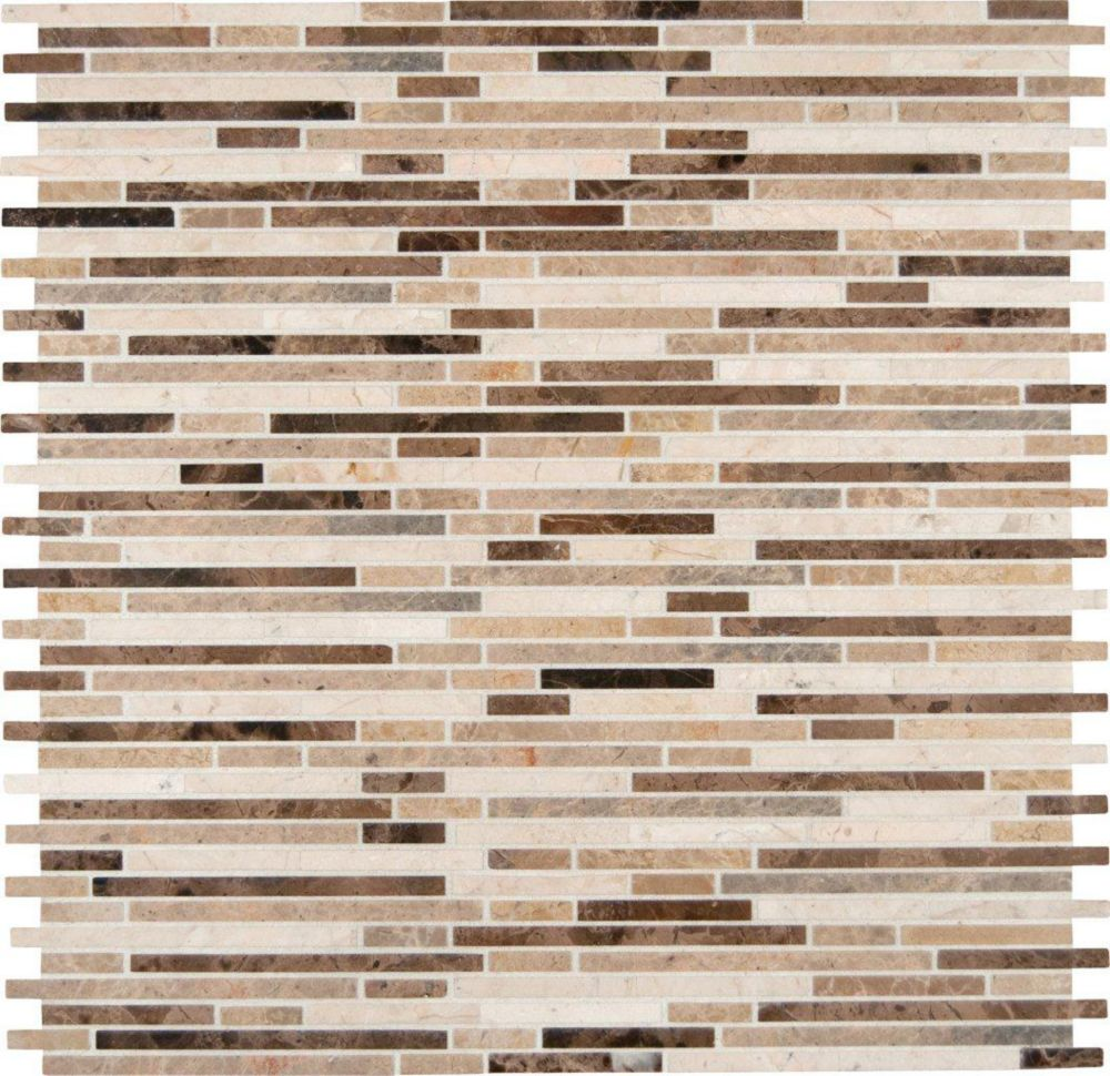 Emperador Mix Bamboo Pattern Mesh-mounted Mosaic Floor & Wall Tile