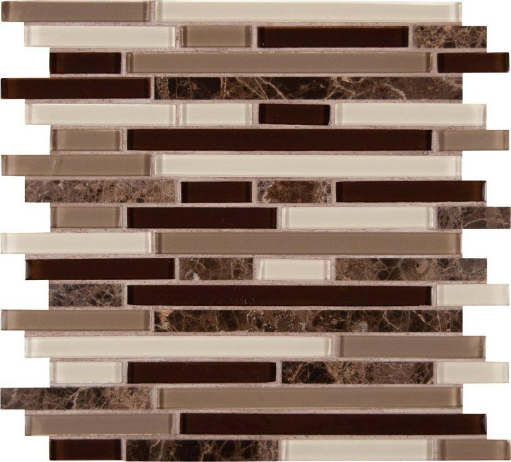 Royal Oaks Blend Interlocking Glass/Stone Mesh-mounted Mosaic Wall Tile THDWG-SGL-ROBI-8MM Canada Discount