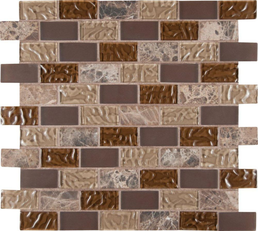 Sonoma Blend 1 in. x 2 in. Glass/Stone Mesh-mounted Mosaic Wall Tile THDWG-SGL-SB-8MM Canada Discount